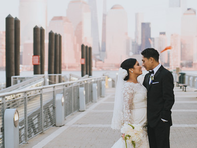 Romantic wedding at Maritime Parc, New York overlooking Manhattan skyline.