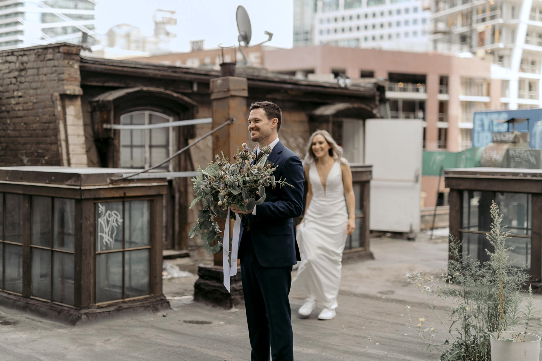First Look Photograph of Bride & Groom